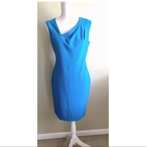 DKNY Sleeveless Asymmetrical Sheath Dress Blue 8
